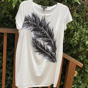 INC black and white feather dress